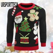Men Clothing Knitwear Jumper Christmas-Sweater Slim-Fit Casual Warm Autumn URSPORTTECH