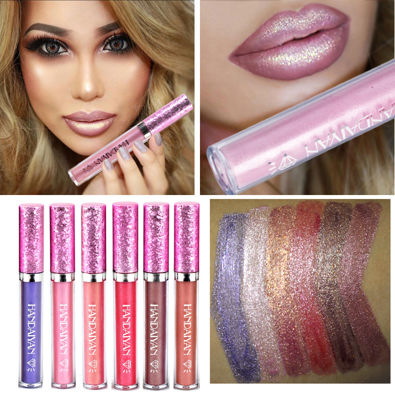 HANDAIYAN Waterproof Liquid Lipstick 6 Color Diamond Glitter Lipsticks Metallic Color Long Lasting Makeup for Women Shinny Lips