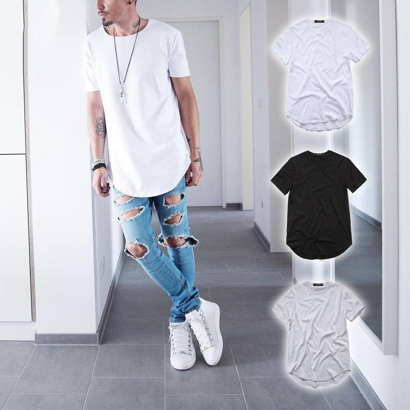 Футболка мужская удлиненная, уличная одежда, топ с изогнутым подолом и длинными полосками, Swag, стиль хип-хоп, городская без рисунка
