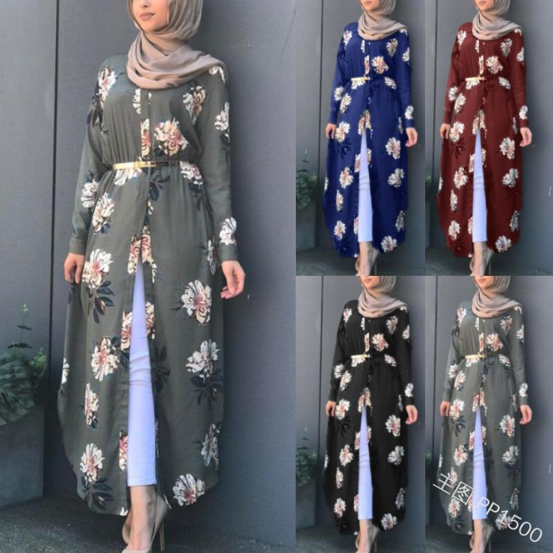 Muslim Print Abaya Kimono Floral Hijab Dress Arabic Dubai African Women Pakistan Caftan Marocain Kaftan Qatar Islamic Clothing