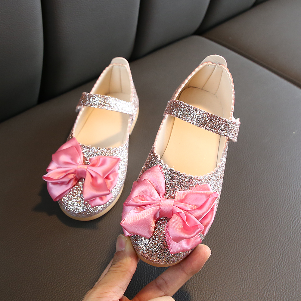 2019 New Fashion Kids Leather Shoes For Girls Princess Bling Glitter Dance Shoes Baby Girls Bow Party Dress Shoes Girls Flats
