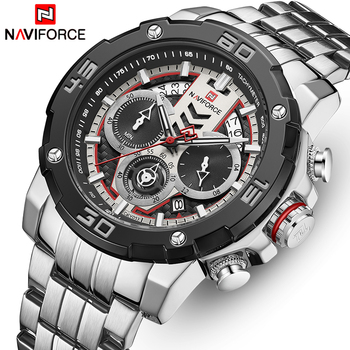 NAVIFORCE Men Watches Top Brand Luxury Luminous Quartz Men's Watch Stainless Steel Sport Chronograph Clock Relogio Masculino