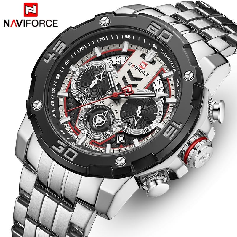 NAVIFORCE hommes montres haut de gamme de luxe lumineux Quartz montre pour hommes en acier inoxydable Sport chronographe horloge Relogio Masculino