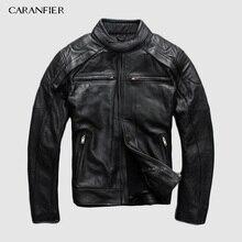 CARANFIER Genuine Leather Jacket Mens Liner Detachable Motorcycle Multifunction Jacket Men Liner Detachable Cow Leathe Jackets
