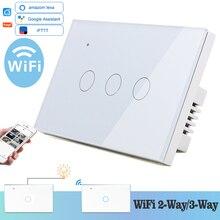 Interruptor táctil de pared con WIFI para el hogar, interruptor de pared con luz LED blanca, cristal azul, 118x72mm, 3 entradas, 2 vías, redondo, Alexa, Google Home, Alice