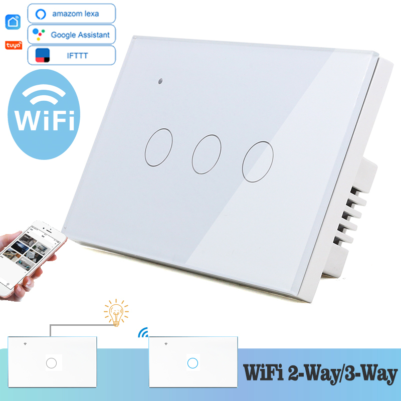 WIFI Touch Light Wall Switch White Glass Panel Blue LED US 118*72mm Universal Smart Home Phone Control 3 Gang 2 Way Relay Round