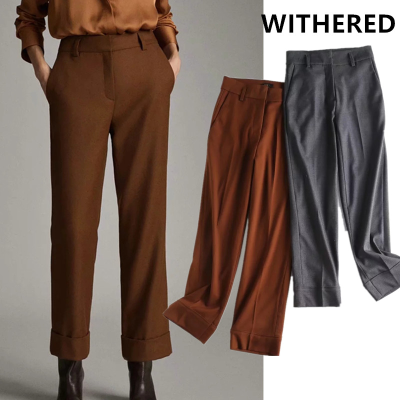 Withered England Urban Office Lady Elegant Solid Regular Slim Suits Pants Women Pantalones Mujer Pantalon Femme Trousers Women