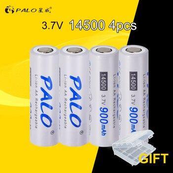 4Pcs PALO 14500 Li-Ion 2A batterie 3,7 V batterie AA 14500 batterie recargables Geschützt Mit Batterie Fall