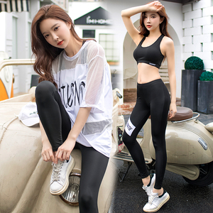 3pcs Summer Women Yoga Fitness Clothing Mesh Breathable Loose Workout Clothes Female Sports Bra /T-shirt /Gym Leggings Quick-dry(China)