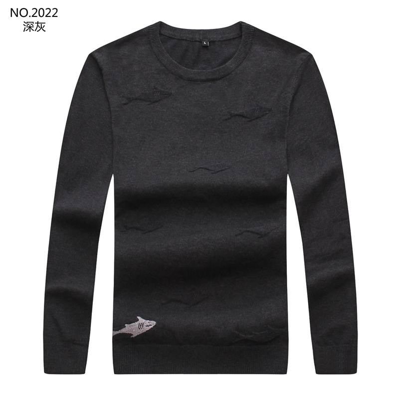 New 2019 Men Luxury Winter Embroidered Full Shark Striped Casual Sweaters Pullover Asian Plug Size High Quality Drake #M40