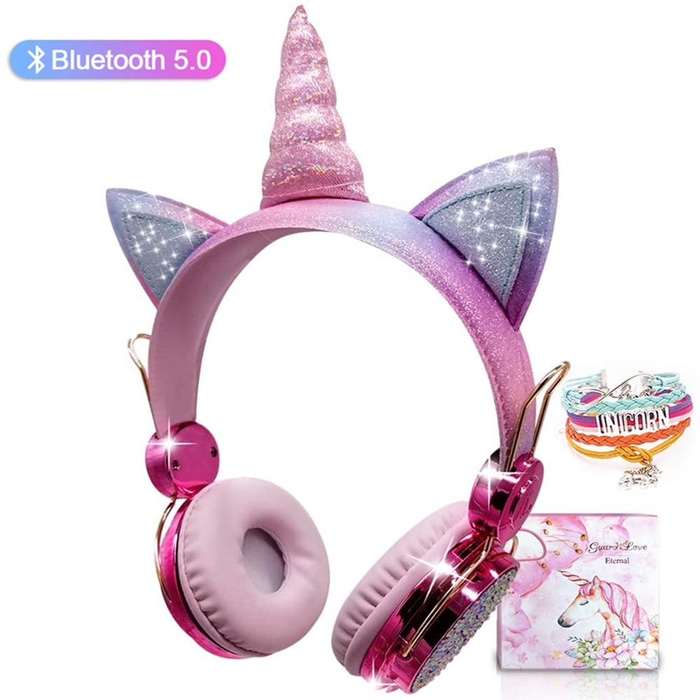 Kids Headphones Bluetooth Wireless Cute Unicorn Headset With Microphone Over On Ear for School/Kindle/Tablet/PC Online Study