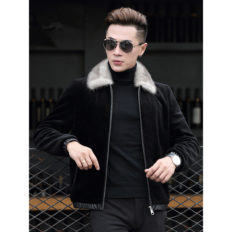 Real Wool Fur Coat Men Clothes 2020 Mink Fur Collar Jacket Winter Sheep Shearling Fur Coats Parka Manteau Homme ZL852