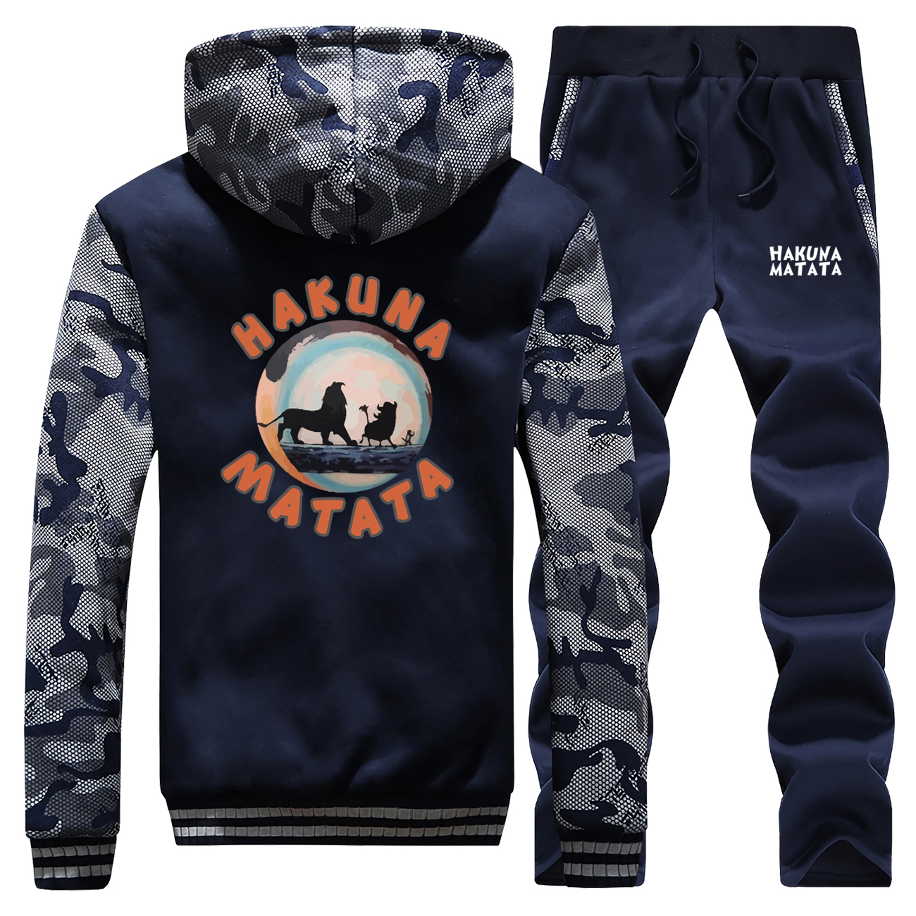 New 2019 Winter The Lion King Streetwear Men Hoodie Fleece Camouflage Coat Thick Suit Cartoon Warm Jackets+Pants 2 Piece Set