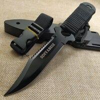 Tático lâmina fixa 7cr14mov lâmina alça de aço ao ar livre acampamento sobrevivência caça utilitário faca militar ferramenta bolso + abs bainha Facas     -