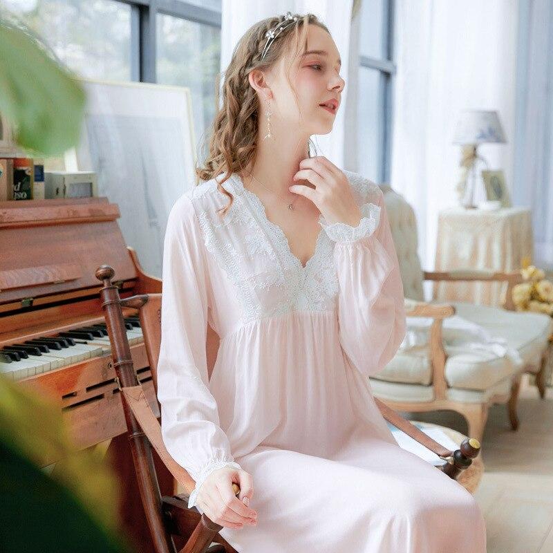 Wasteheart Women Homewear Female Blue Pink Sexy Sleepwear Nightdress Long Lace V Neck Nightwear  Nightgown Sleepwear