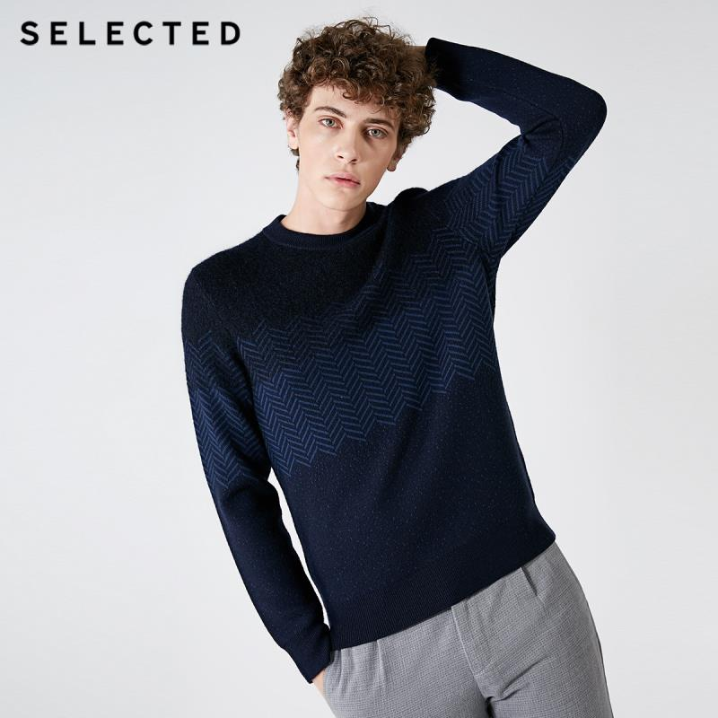 SELECTED Autumn And Winter New Men's Woolen Herringbone Pattern Dot Knit Sweater S |418425529