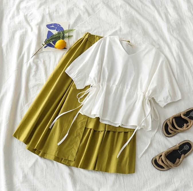 Mooirue 2020 Spring Summer Casual 2 Piece Set Women V Neck Bandage Blouse Tops+ High Waist Loose Skirts Casual Streetwear Sets