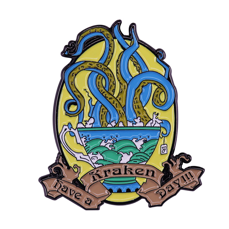 Have A Kraken Day Enamel Pin Mythical Sea Wave Badge Cartoon Octopus Brooch Ancient Evil God Jewelry
