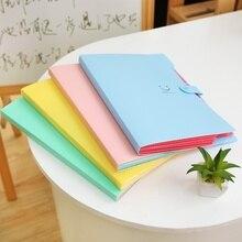 3Pcs 귀여운 A4 파일 폴더 캔디 컬러 문서 Oranganizer 5 포켓 학생 파일 폴더 학교 ZCX 0001 3