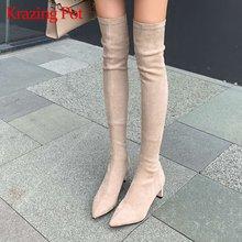 Krazing pot/растягивающиеся сапоги из флока с квадратным носком