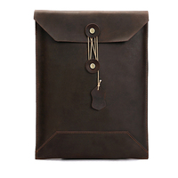 Genuine Leather Paper Folder File Document Bag Business Briefcase Filing Products Office Supplies 35*24 cm