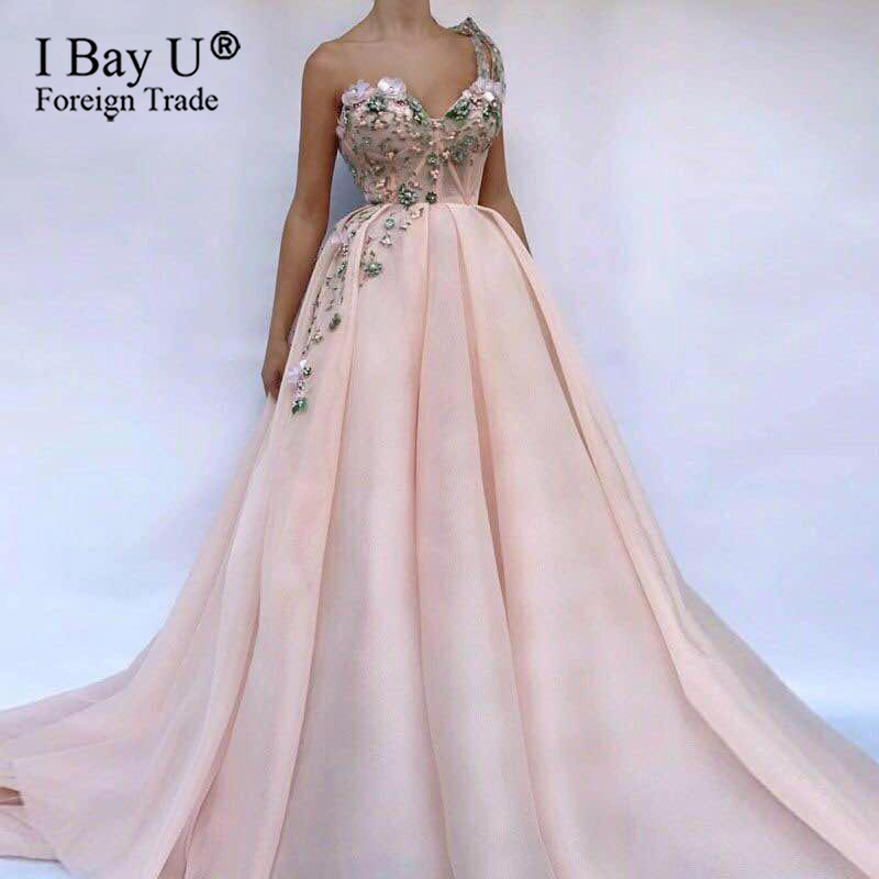 Elegant 3D Sweetheart Illusion Sexy Tulle Pink Party Dresses Beach Flowers Colored Pearls Evening Dresses Prom Gown Custom Made