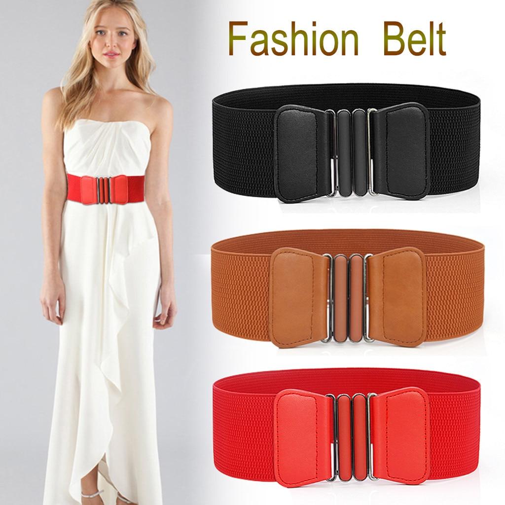 Plus Size Belt Elastic Wide Red Leather Fashion Big Ladies Belts For Women Dress Coat Designer Stretch Corset Belt