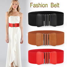Plus size belt elastic wide red leather fashion big ladies belts