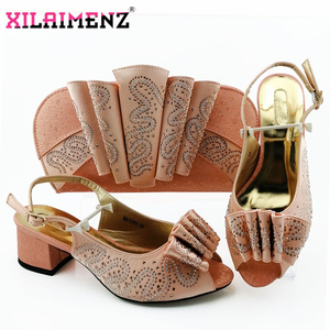 Image 4 - Silver Latest Comfortable Shoes and Bags Set African Sets 2019 Italian Shoes and Matching Bags Women Rhinestone Wedding Shoe