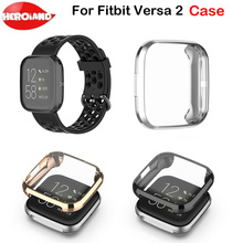 Ultra-thin Plating TPU Protector Case Cover Clear Full Protective Shell For Fitbit Versa 2 Band Smart Watch Screen Protector mijobs pc diamonds case cover for fitbit versa band screen protector watch shell smart watch accessories for fitbit versa lite