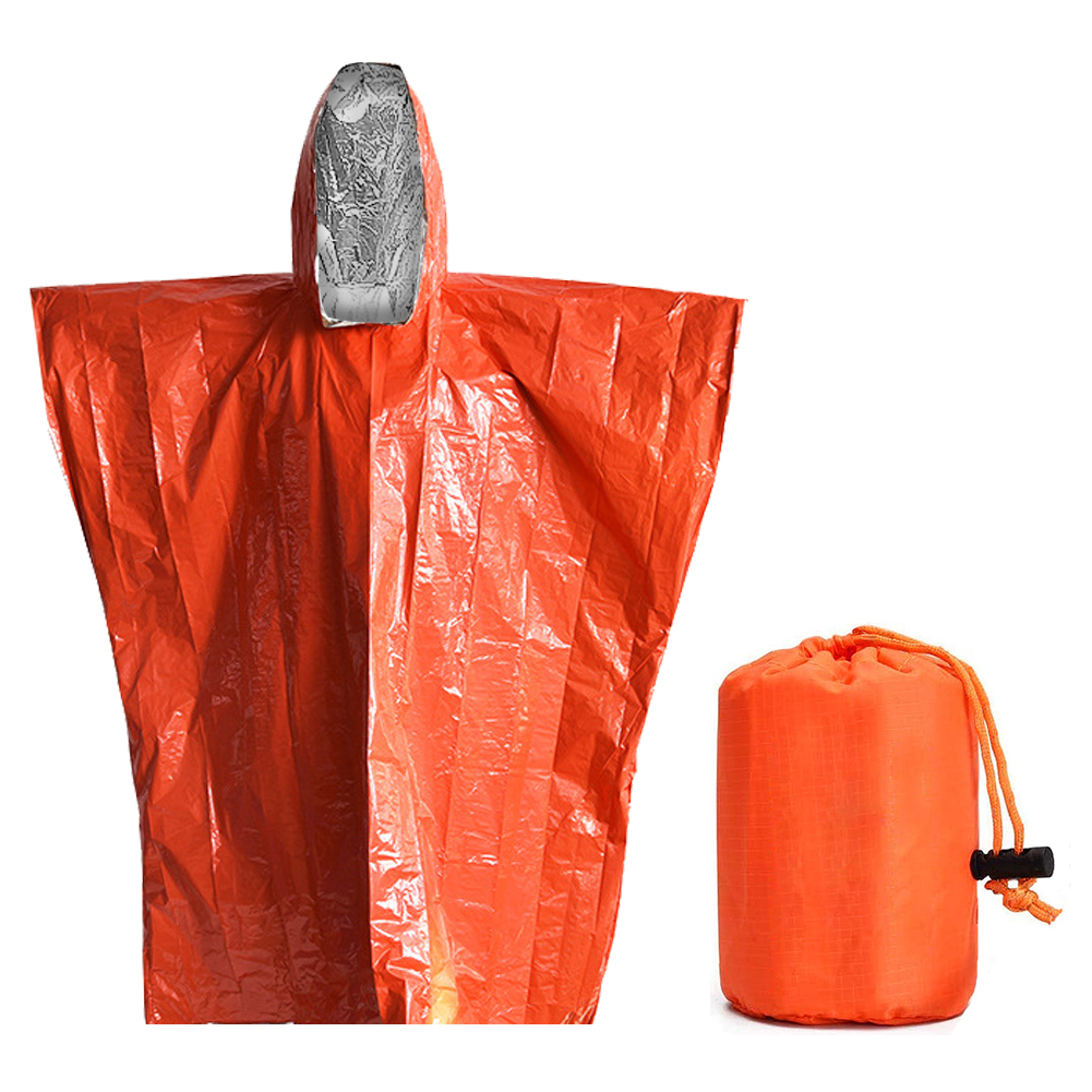 Aluminum Film Raincoat Disposable Dual Color Thermal First Aid Survival RaincoatWaterproof Poncho  For Outdoor Hunting Hiking