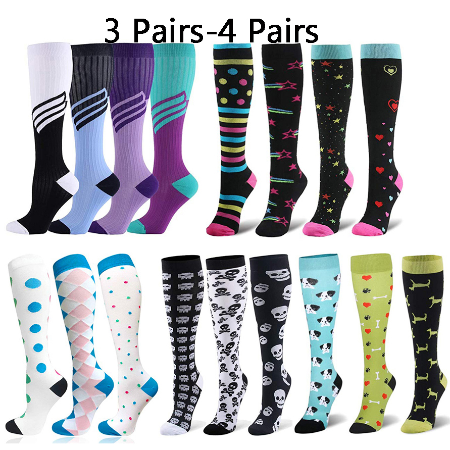 3/4 Pairs Multi Color Compression Stockings Leg Pressure Sports Travel Hot Sell Compress Socks Men Women Packaged For Sale