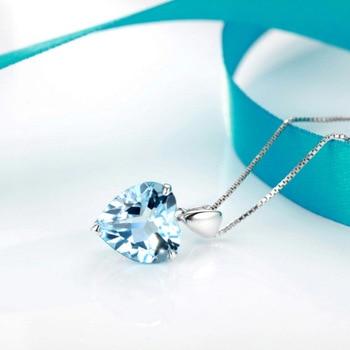 Natural Blue Topaz Pendant Sterling Silver Necklace  2
