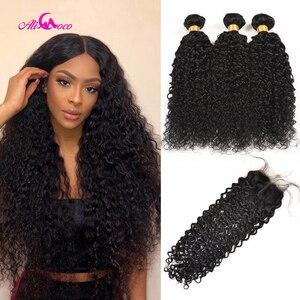 Али Коко, бразильские курчавые волнистые волосы, пучки с 4x4 кружевной застежкой, пучки натуральных волос с закрытыми волосами для детей, не Р...