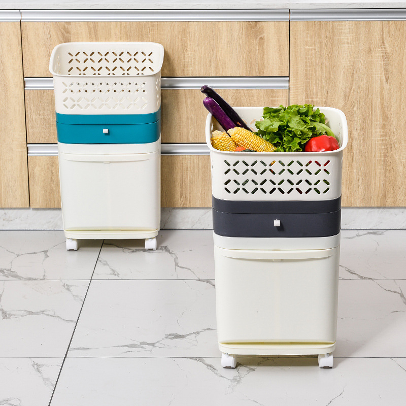 Clearance SaleDustbin Rubbish-Bin Stacked Trash-Can Recycle Plastic Kitchen Sorting And Wet with Wheel