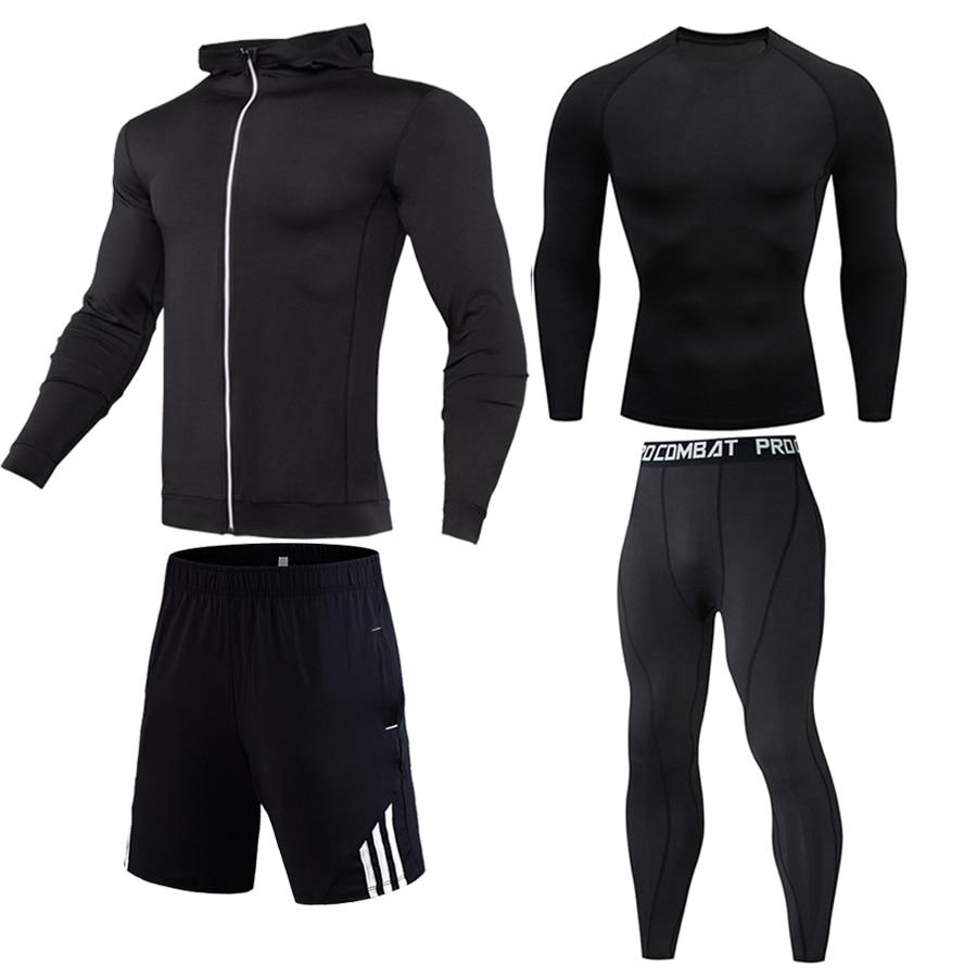 Men's Gym Clothing Winter Thermal underwear Fitness Dry T-Shirt Sports Shorts Sweatshirt Men's Leggings 4 Piece Union suit black