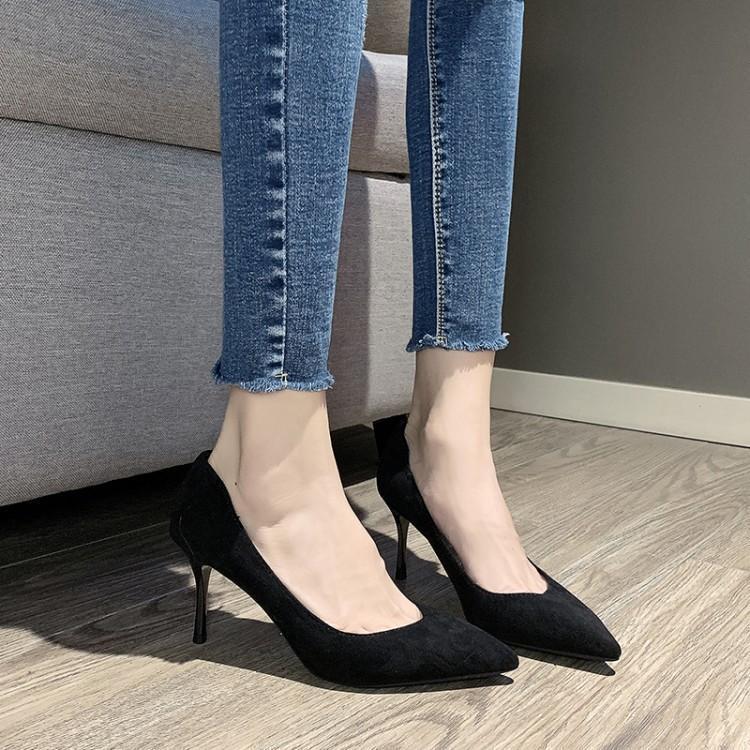 Chaussures femme dames pompes femmes noir talons rouge fête 2019 haut talon femmes peu profond bout pointu court peluche sans lacet talons fins