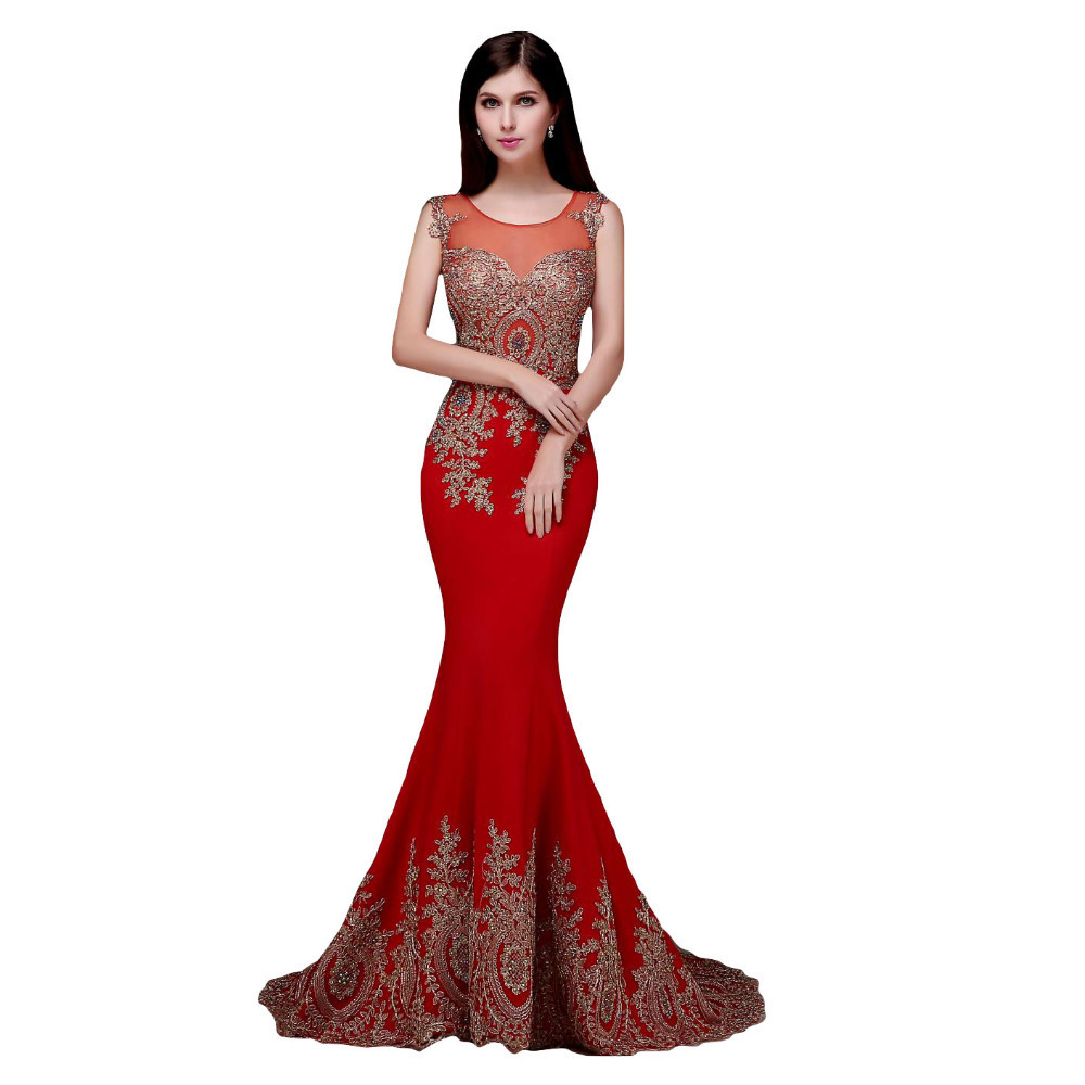 2018 Real Image Sheer Neck Evening Lace Red Black Burgundy Royal Blue Formal Party Gown Arabic Plus Mother Of The Bride Dresses