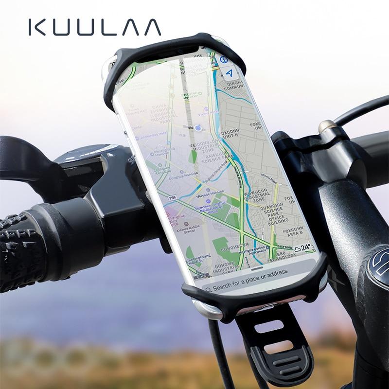 KUULAA Bicycle Phone Holder For IPhone Samsung Universal Mobile Cell Phone Holder Bike Handlebar Clip Stand GPS Mount Bracket