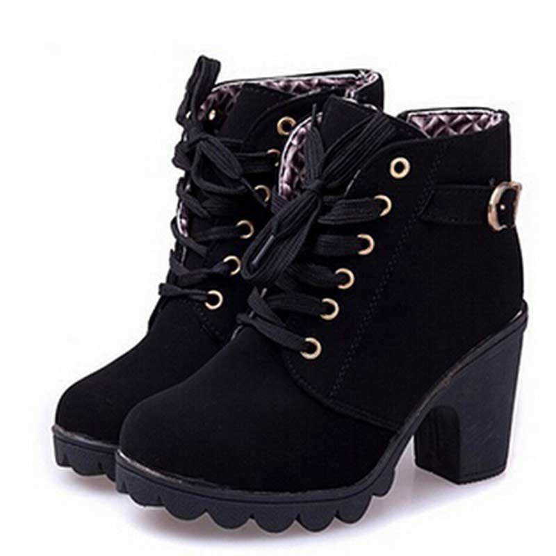 Ankle-Boots Shoes Square Lace-Up High-Heel Elegant Women Ladies Solid For Vintage New