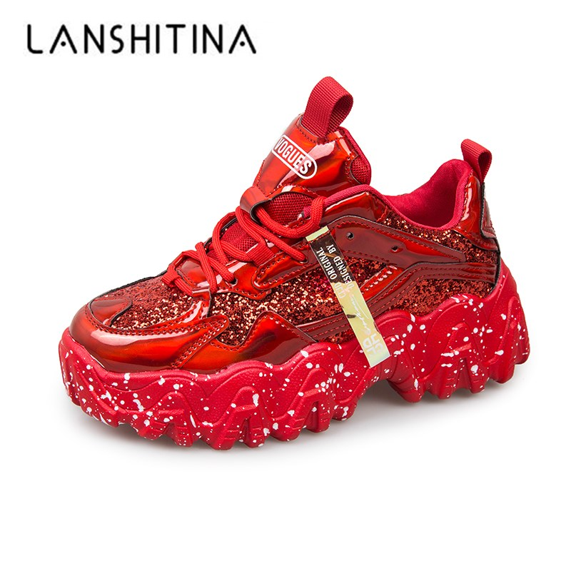 Platform Sneakers Women Spring 2020 Fashion Sequined Cloth Bling Breathable Round Toe Leisure Chunky Women Shoes Tenis Feminino