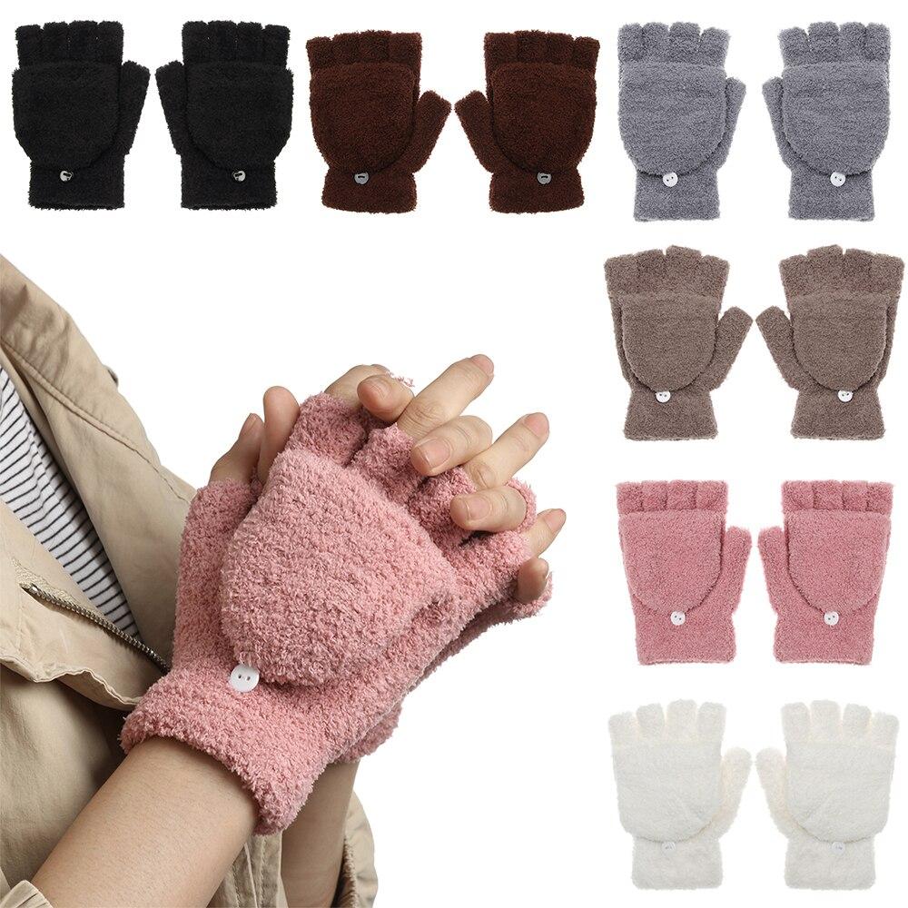 Koralle Plüsch Mitte Handschuhe für Kinder Volle Finger Farbe der Süßigkeiten