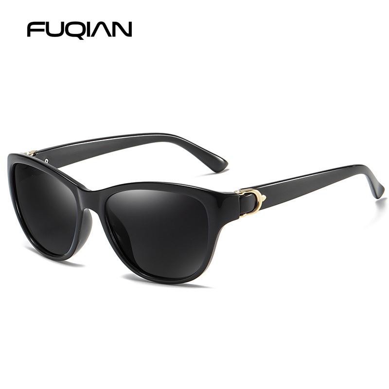 FUQIAN Brand Fashion Cat Eye Women Sunglasses Polarized Vintage Plastic Female Sun Glasses Pink Shades Sunglass Gafas De Sol