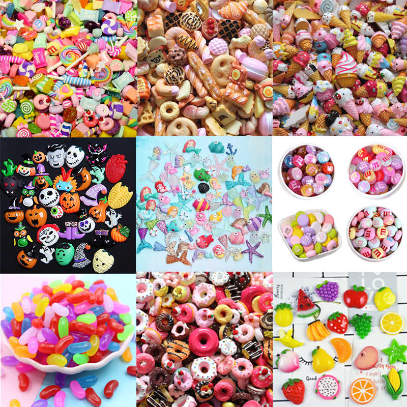 Addition Slime Supplies Case Decoration for Slime Filler Miniature Resin Cake Fruits Candy Chocolate Kids Toys Halloween Gift E
