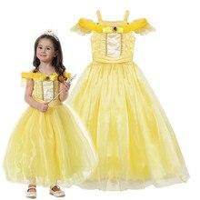 Vestido de princesa Bella para niña y niño, vestido de baile Floral, Cosplay para niño, disfraz de Bella La Bella y la bestia, fiesta de fantasía