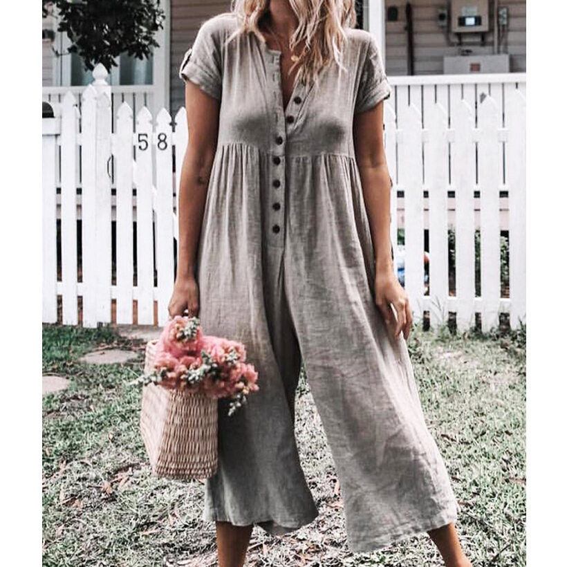 Solid Loose Jumpsuits Women Casual Cotton Linen Overall Female Romper Button V Neck Wide Leg Long Trousers Pants