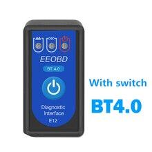Elm 327 BT4.0 Scanner de voiture, outil de Diagnostic automobile, prise Obd2, Bluetooth, Interface pour Android/IOS
