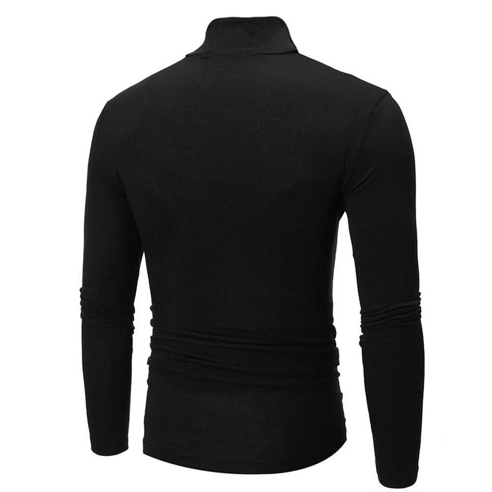 패션 남자 거북이 목 티셔츠 탑 솔리드 컬러 긴 소매 거북이 목 티셔츠 남성 의류 맨 위로