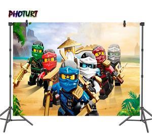 Image 1 - Photurt おもちゃ ninjago 写真撮影の背景ベビーシャワーボーイ誕生日パーティー背景アニメーション characte ビニール写真スタジオ小道具