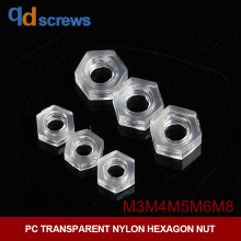 PC M3M4M5M6M8 transparent nylon plastic hexagon nut
